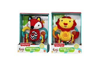 2x Fisher Price 20cm Baby Spring Activity Rattle Educational w/ Teether Toy 0m+