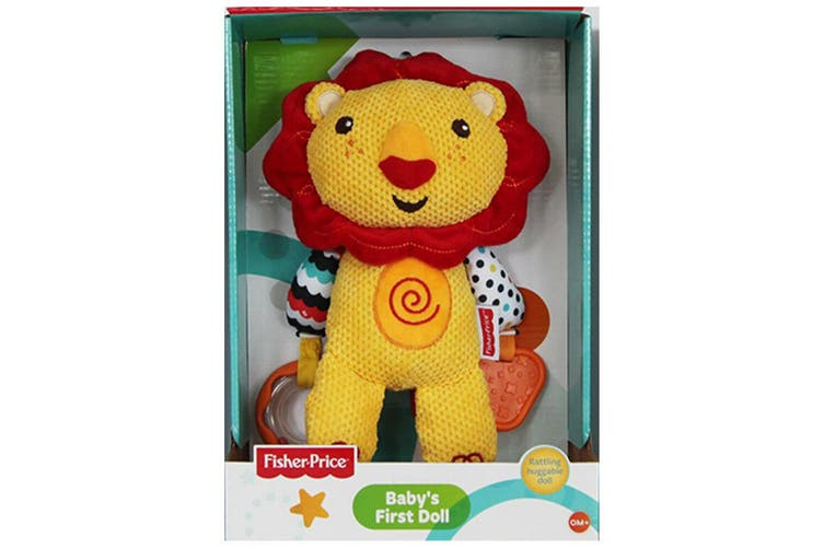 Fisher Price First Doll 25cm Lion Soft/Huggable/Educational Toy/Rattle Baby 0m+