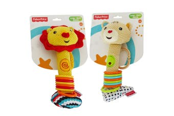 2PK Fisher Price Lion/Bear Long-Neck Squeaker Rattle Educational Toy Baby 0m+