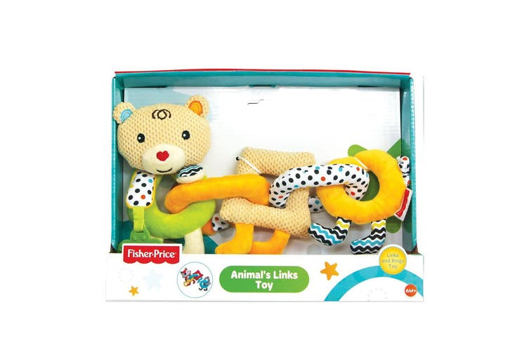2PK Fisher Price Bear/Lion Animal Links/Rings Educational Teether Toy Baby 6m+