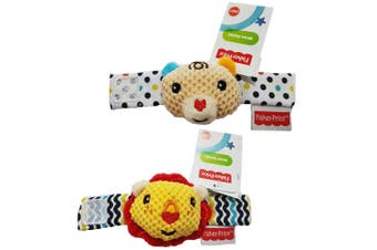 2PK Fisher Price Lion/Bear Wrist/Ankle Rattle Educational Soft Toy Baby 0m+