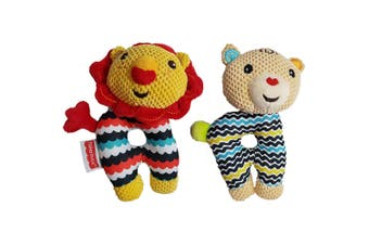 2x Fisher Price Bear/Lion First Rattle Educational Toy w/Teether Baby/Infant 0m+