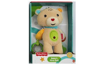 Fisher Price First Doll 25cm Bear Soft/Huggable/Educational Toy Rattle Baby 0m+
