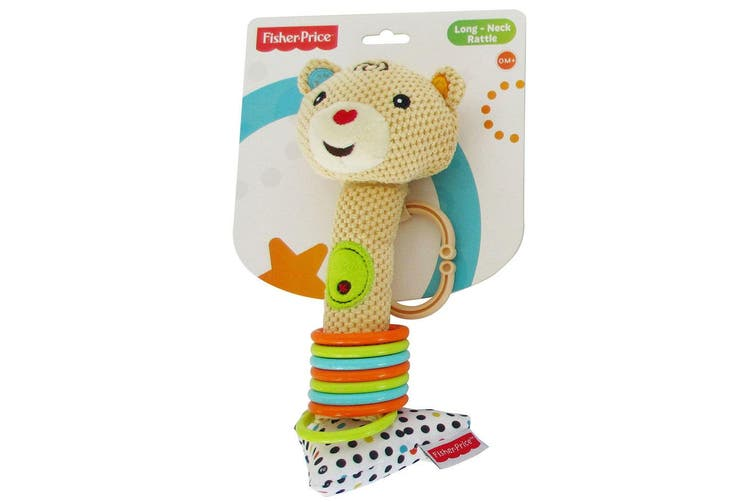 Fisher Price Bear Long-Neck Squeaker Rattle Educational/Interactive Toy Baby 0m+