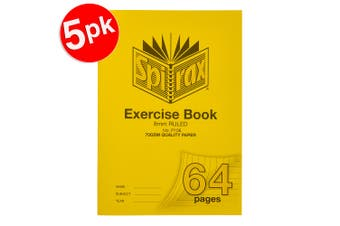 5x Spirax 70GSM 64 Pages A4 8mm Ruled No.P106 Exercise Book School Notebook