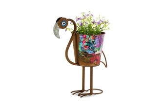 Natures Art Flamingo Metal 42cm Pot Planter Flower/Plant Home/Garden Decor Rust