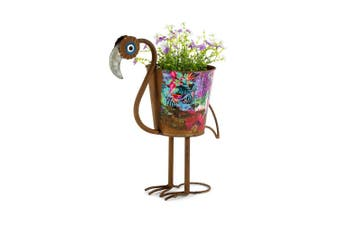 Natures Art Flamingo Metal 42cm Pot Planter Flower/Plant Home/Garden Decor Rust