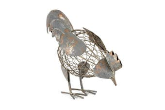 Farm-Life Rusty Metal 30cm Pecking Chicken Sculpture Standing Home/Room Decor