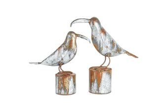 Galvanised 34cm & 27cm Rustic Metal Bird on Stump Sculpture Home Garden Decor