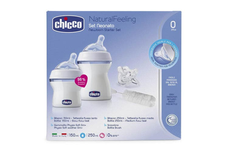 Chicco Newborn Starter Small Feeding 150ml/250ml Bottles Set for Baby 0m+ Clear