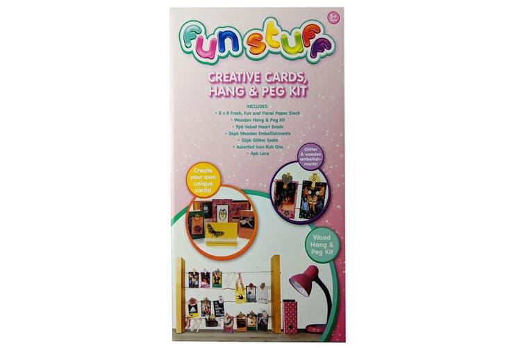 2PK Fun Stuff Kids/Children 5y+ DIY Creative Cards/Hang/Peg Arts Craft/Decor Kit