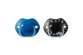 2pc Tommee Tippee Baby MeMe Soother Dummy S Feeding Pacifier 6-18m Black/Blue