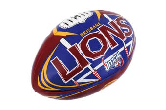 AFL Brisbane Lions 20cm Large/Soft Rugby Ball Play/Game/Toys Kids/Boys