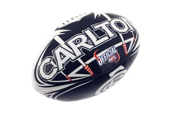 Summit AFL Carlton Blues 20cm Large/Soft Rugby Ball Play/Game/Toys Kids/Boys