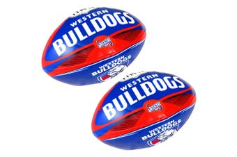 2x Summit AFL Western Bulldogs 20cm Large/Soft Rugby Ball Play/Game Kids/Boy
