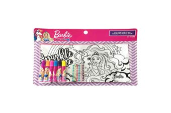 Barbie Colour & Glam Girl's Pencil Case w/Colouring Markers/Glitter Stones 3y+