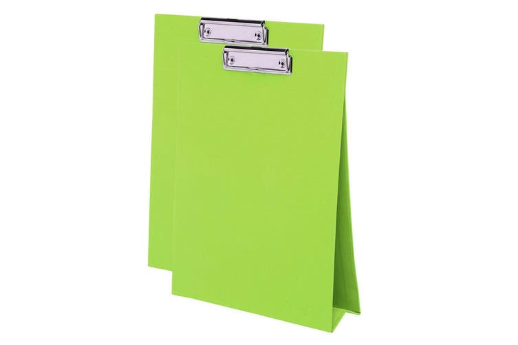 2x ColourHide A4 Paper Stand Up Clipboard/Whiteboard Document Writing Board GRN