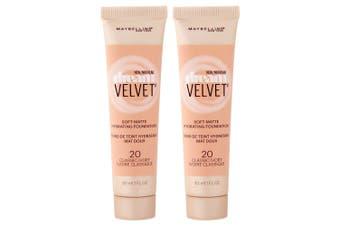 2PK Maybelline Dream Velvet Soft Matte Gel-Whipped Foundation 20 Classic Ivory