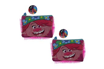 2PK Trolls 2 Fluffy Poppy Pencil Case Makeup Organiser/Holder/Pouch/Stationery
