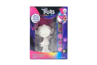 1PK Dreamworks Trolls Paint Your Own Plaster Doll Paint Crafts Kids 3y+ Assorted