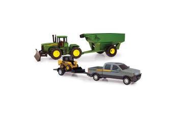 John Deere 38cm Mega Hauling Set Pickup/Tractor Toy/Ute Vehicle Farming Grey