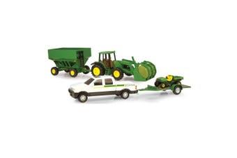 John Deere 38cm Mega Hauling Set Pickup/Tractor Toy/Ute Vehicle Farming White