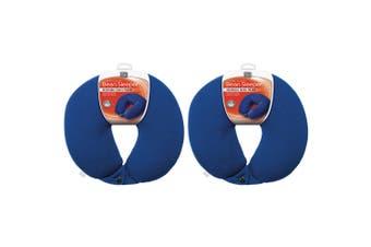 2x Go Travel Bean Sleeper Reversible Bean Head/Neck Support Pillow Cushion Blue