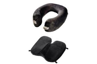 Go Travel Memory Foam Soft Seat Cushion & Travel Neck Support Pillow Set Black
