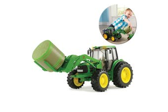 John Deere 1:16 Tractor/Vehicle w/ Bale Mover & Round Bale Farm Toys Light/Sound