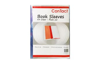 25pc Contact A4 Book Sleeves/Protective Reusable Slip On Covering Clear