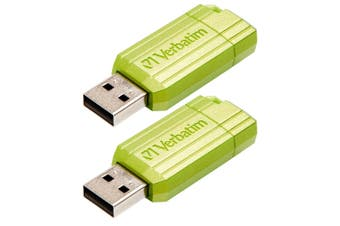 2PK Verbatim 16GB PinStripe USB 2.0 Drive/Pen Drive For Windows/Mac/Linux Green
