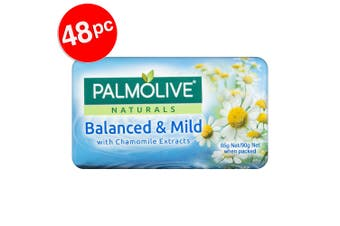 12x 4PK Palmolive 90g Naturals Balanced & Mild Soap Bar Shower Bath Skin Care