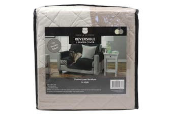 York & Leisure 2.24m Reversible 2 Seater Couch/Sofa/Chair Cover Pets/Dogs Latte