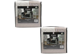 2PK York & Leisure 2.24m Reversible 2 Seater Couch/Sofa Cover Pets/Dogs Latte