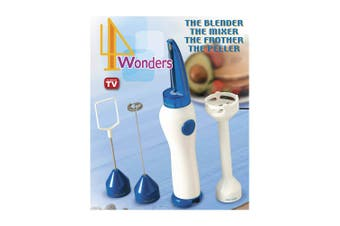 4Wonders 4in1 Food Processor Blender/Peeler/Mixer/Frother Electric Battery Power