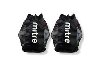 2PK Mitre Durable Mesh 12 Ball Carrier/Bag Shoulder Strap for Soccer/Football
