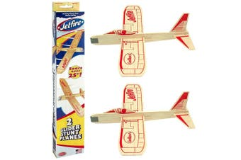 2pc Guillow's Jetfire Glider Twin Airplanes Stunt Planes Toys Kids/Children 8y+