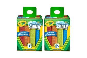 2x 12PK Crayola Washable Coloured Sidewalk Chalk Drawing Art/Craft Draw Kids 4y+