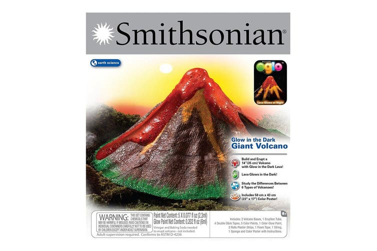 Smithsonian Glow in the Dark Giant Volcano Kit Science Educational Kids 6y+ Toy