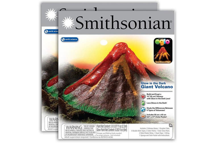 2PK Smithsonian Glow in the Dark Giant Volcano Kit Science Educational Kids Toy