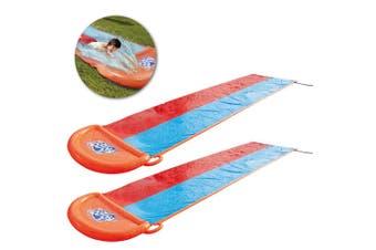 2x Kids Backyard 5.5m Double Slide/Water Pool w Garden Hose Connect/Drench Pool