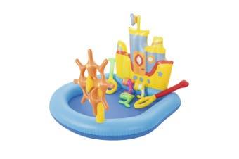Bestway Kids 140cm Tug Boat Inflatable Play Pool Outdoor Water Toys Children 2y+