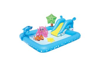 2.4m Kids Interactive Summer Water Fun Play Pool w/ Games/Slide/Blow-up Animals