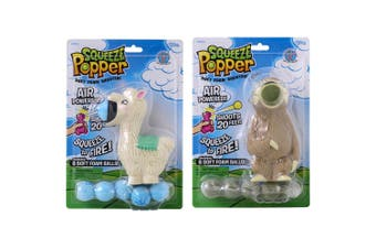 Squeeze Popper Soft Foam Shooter Kids 4y+Ball Shooting Toy Sloth & Llama Combo