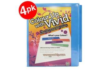 4x Marbig Vivid A4 25mm 200 Sheets 2D Ring Binder Paper/File Organiser Holder BL
