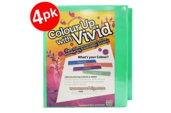4x Marbig Vivid A4 25mm 200 Sheets 2D Ring Binder Paper/File Organiser Holder GR