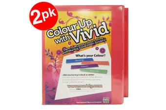 2x Marbig Vivid A4 25mm 200 Sheets 2D Ring Binder Paper/File Organiser Holder PK
