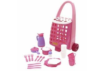 Polesie Trolley w/ 31pc Tableware Dinnerware Toys/Pretend Play for Children/Kids