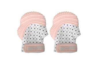 2PK Malarkey Munch Silicone Mitt Mitten Teething Teether Baby/Kids Pastel Pink