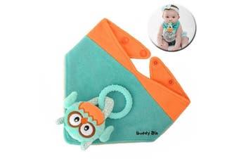 Malarkey Buddy Waterproof Bib Kid/Baby Plush Toy/Teether Holder Aqua Ollie Owl